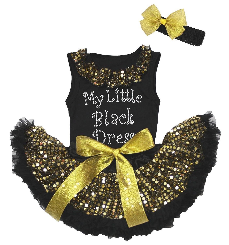 Amazon My Little Black Dress Black Top Gold Sequin Newborn Baby
