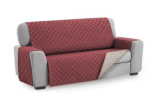 Textilhome - Funda Cubre Sofá Malu, 3 Plazas, Protector para Sofás Acolchado Reversible. Color Rojo C/4