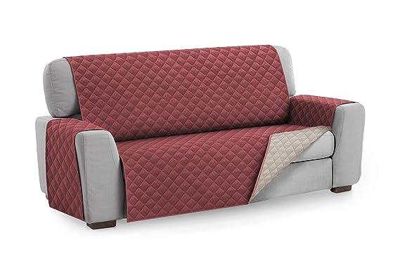 Textilhome - Funda Cubre Sofá Malu, 2 Plazas, Protector para Sofás Acolchado Reversible. Color Rojo C/4