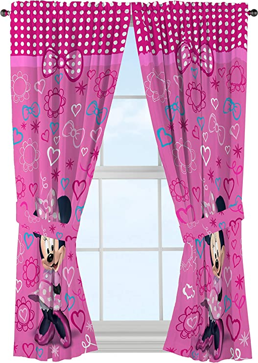 Disney Minnie Mouse Window Panels Curtains Drapes Pink Bow-tique, 42\