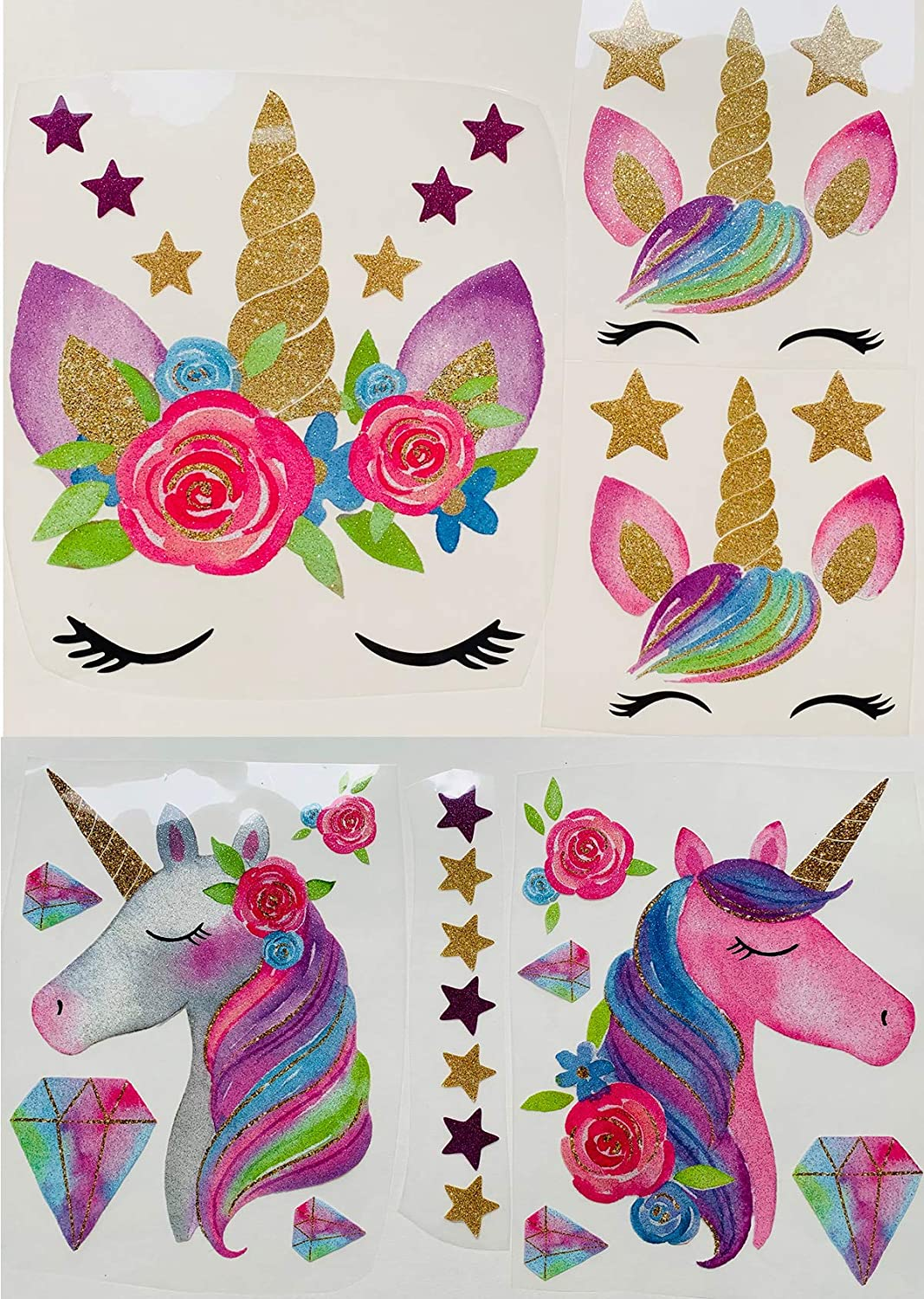 bd48a164c729 Unicorn Iron On Heat Transfer Diamond Iron Transfer Patches Glitter Heat  Transfer Patches Flowers&Star Patches Clothes Patch Appliques Decorate ...