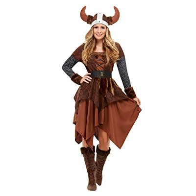 Smiffys 50742S Viking Barbarian Queen Costume, Women, Brown, S - UK Size 08-10: Toys & Games