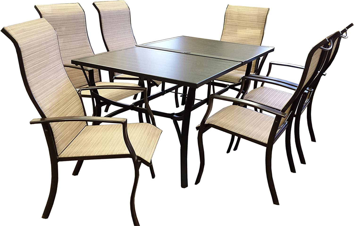 Rose Garden Patio 7-PC Dining OSOB Set Slat Top Table and Sling Chair