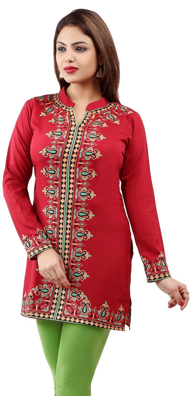 68c26c0388f Maple Clothing Women's Indian Kurti Tunic Top Kurti Printed Blouse  B00IH0KO3S larger image