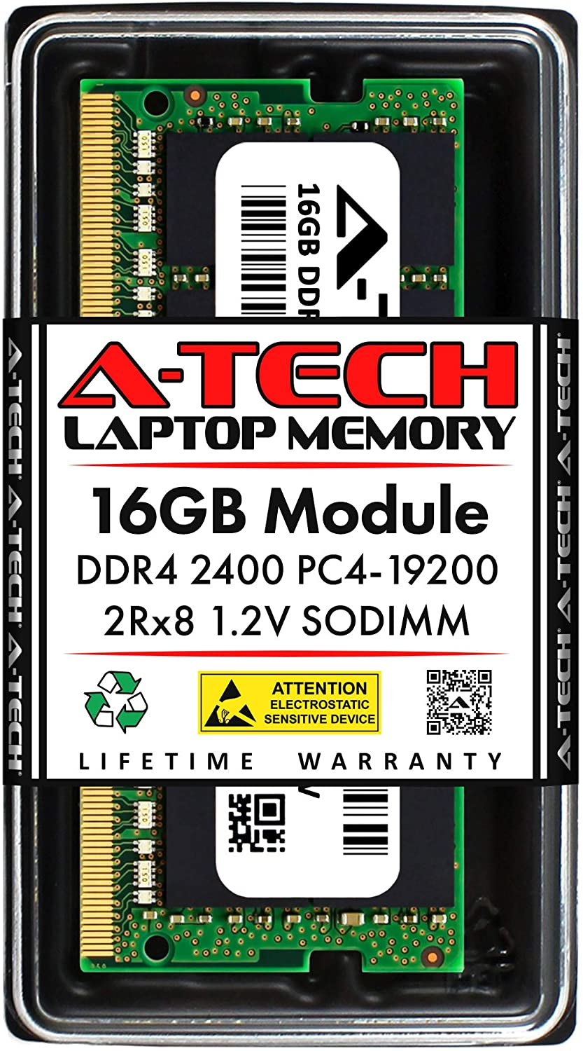 A-Tech 16GB DDR4 2400MHz SODIMM PC4-19200 2Rx8 Dual Rank 260-Pin CL17 1.2V Non-ECC Unbuffered Notebook Laptop RAM Memory Upgrade Module