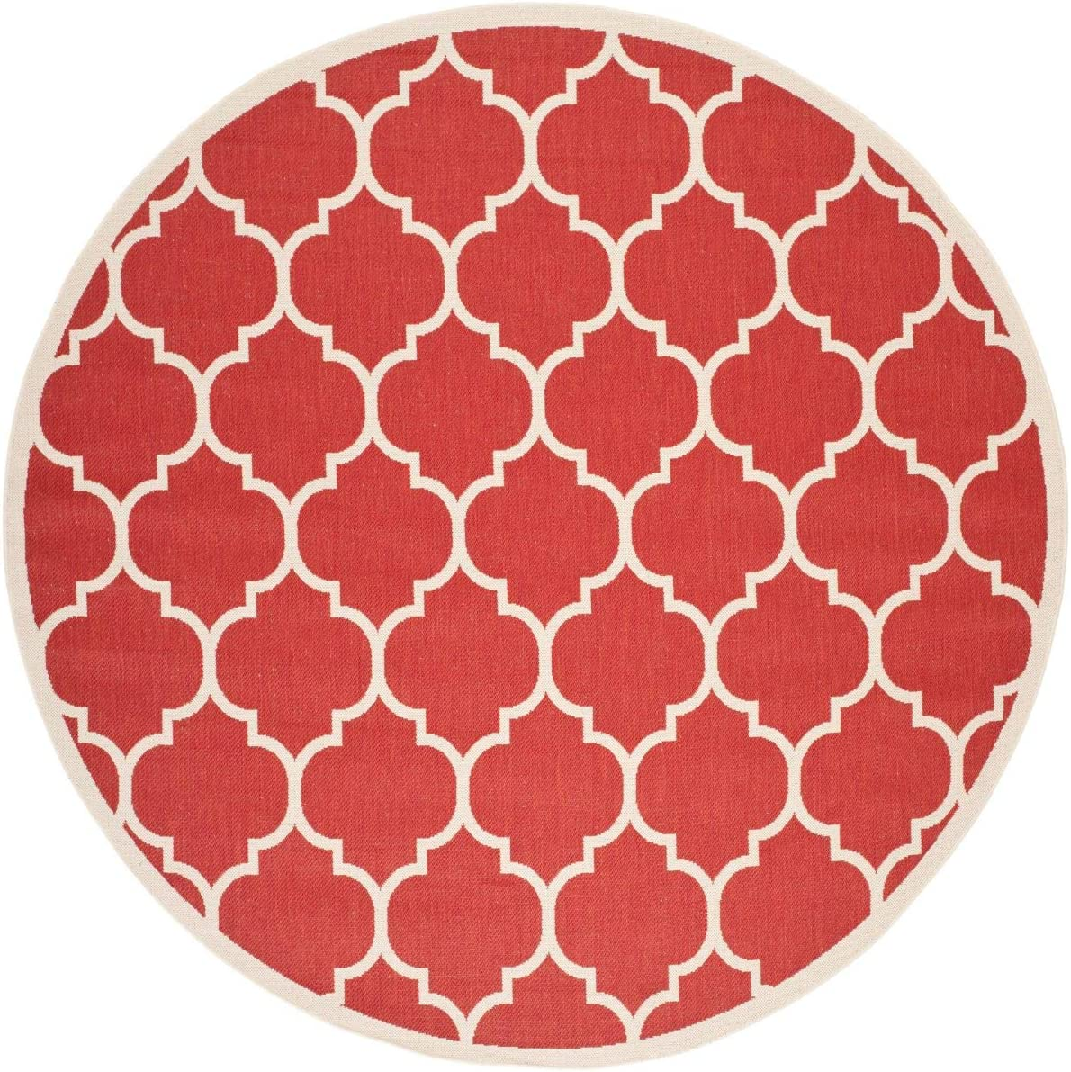 Safavieh Courtyard Collection CY6914-248 Indoor Outdoor Area Rug, 6 7 Round, Red Bone