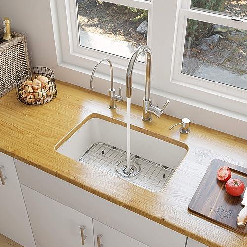 ALFI brand AB503UM-W White Single Bowl Fireclay Undermount Kitchen Sink, 24