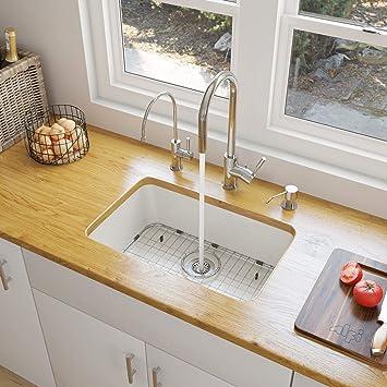 Alfi Brand Ab503um W White Single Bowl Fireclay Undermount Kitchen Sink 24 Amazon Com