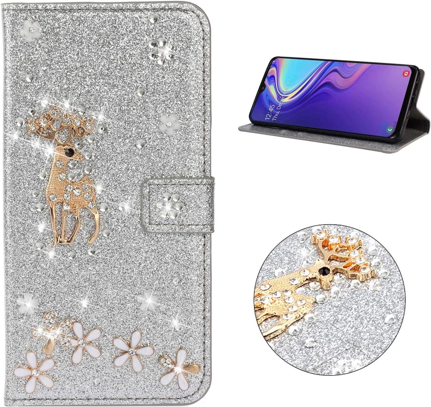 Miagon H/ülle Glitzer f/ür iPhone 11,Luxus Diamant Strass Herz PU Leder Handyh/ülle St/änder Funktion Schutzh/ülle Brieftasche Cover,Regenbogen Rosa