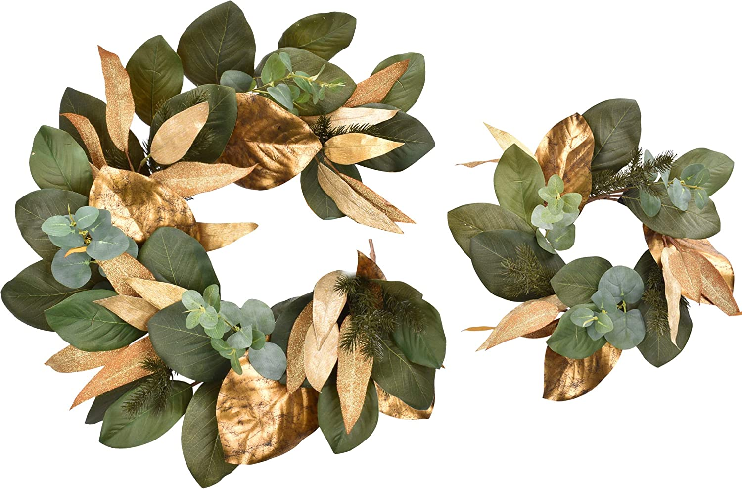 Cloris Art Christmas Wreaths for Indoors Front Door 16 Inch Eucalyptus & Magnolia Leaves + Pine Needle 4 ft Garland(DIY) for Farmhouse Home Wedding Party Wall Decor(Gold & Green)