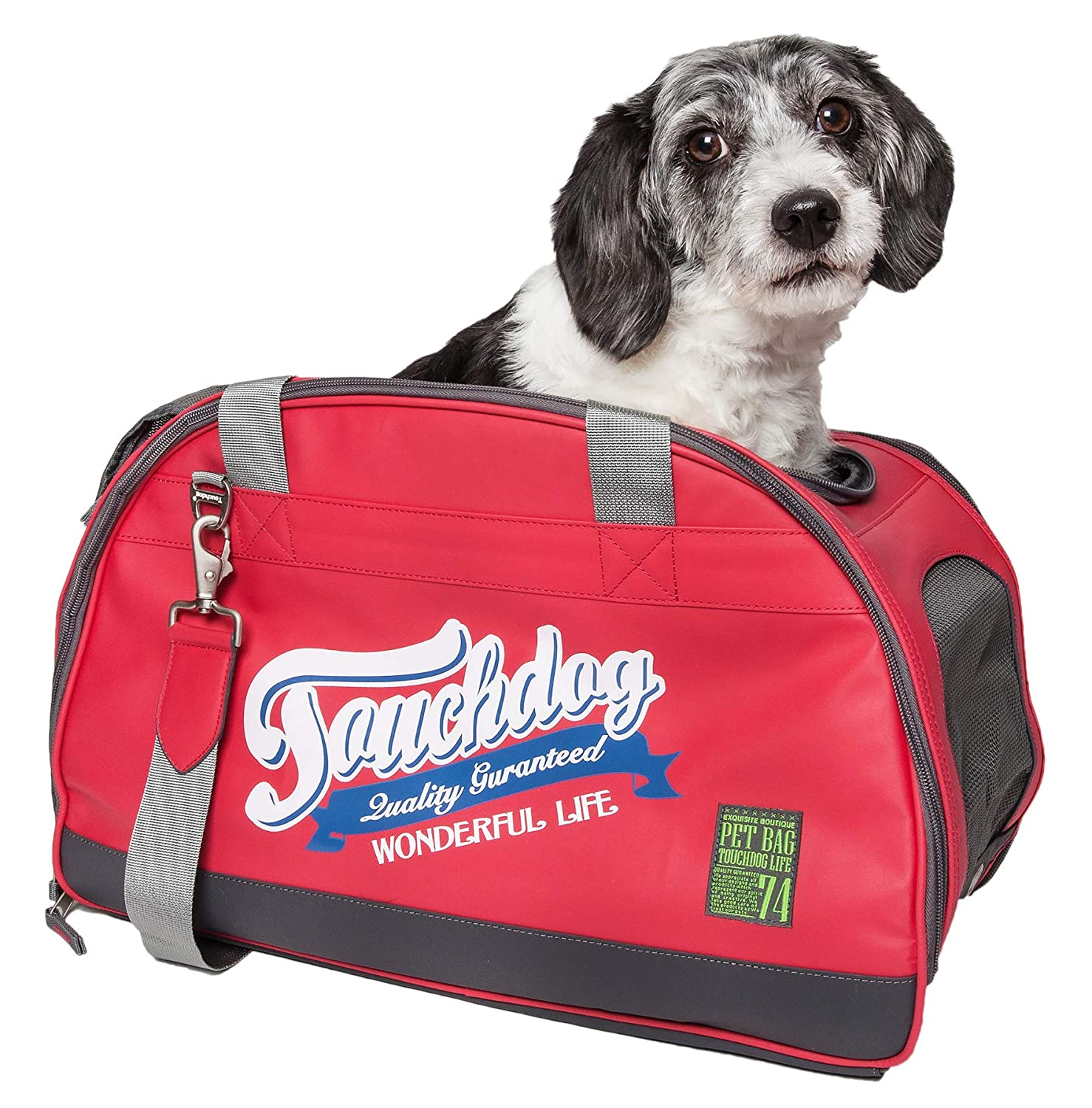 Touchdog Original Wick-Guard Water Resistant Fashion Pet Carrier, One Size, Red