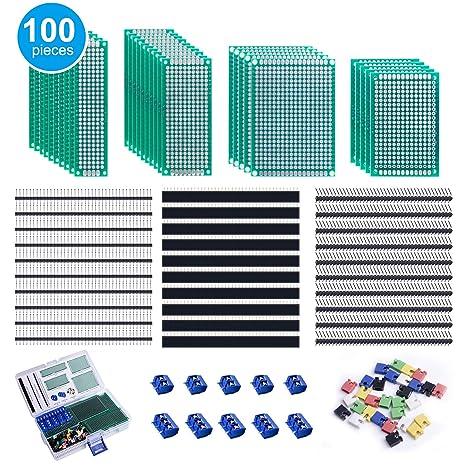 Amazon.com: Smraza 100 piezas de doble cara PCB Kit de ...