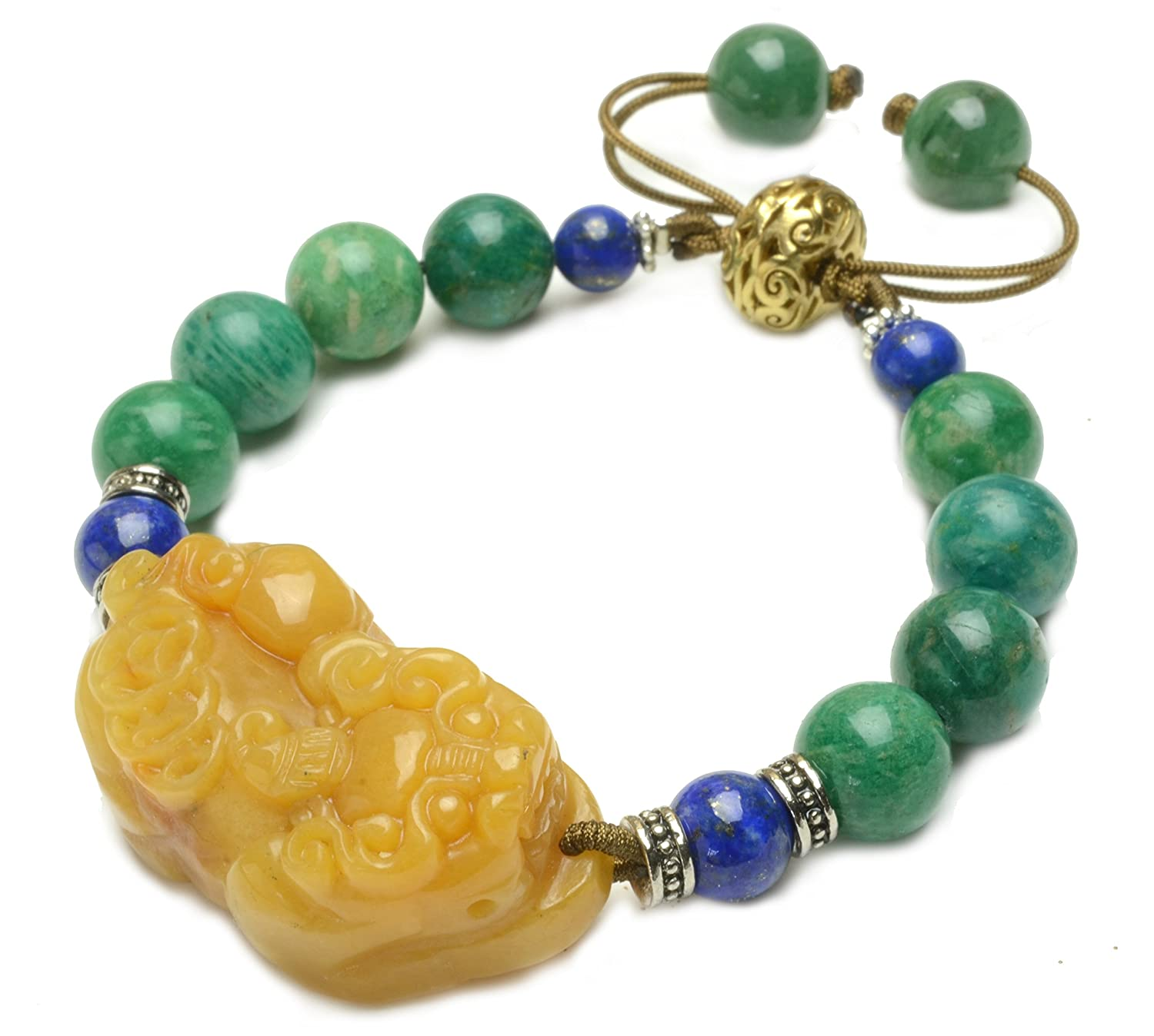 Auspicious Chinese Pi Shou Fortune Tiger Carved Yellow Jade Bracelet, - Feng Shui Fashion Jewelry
