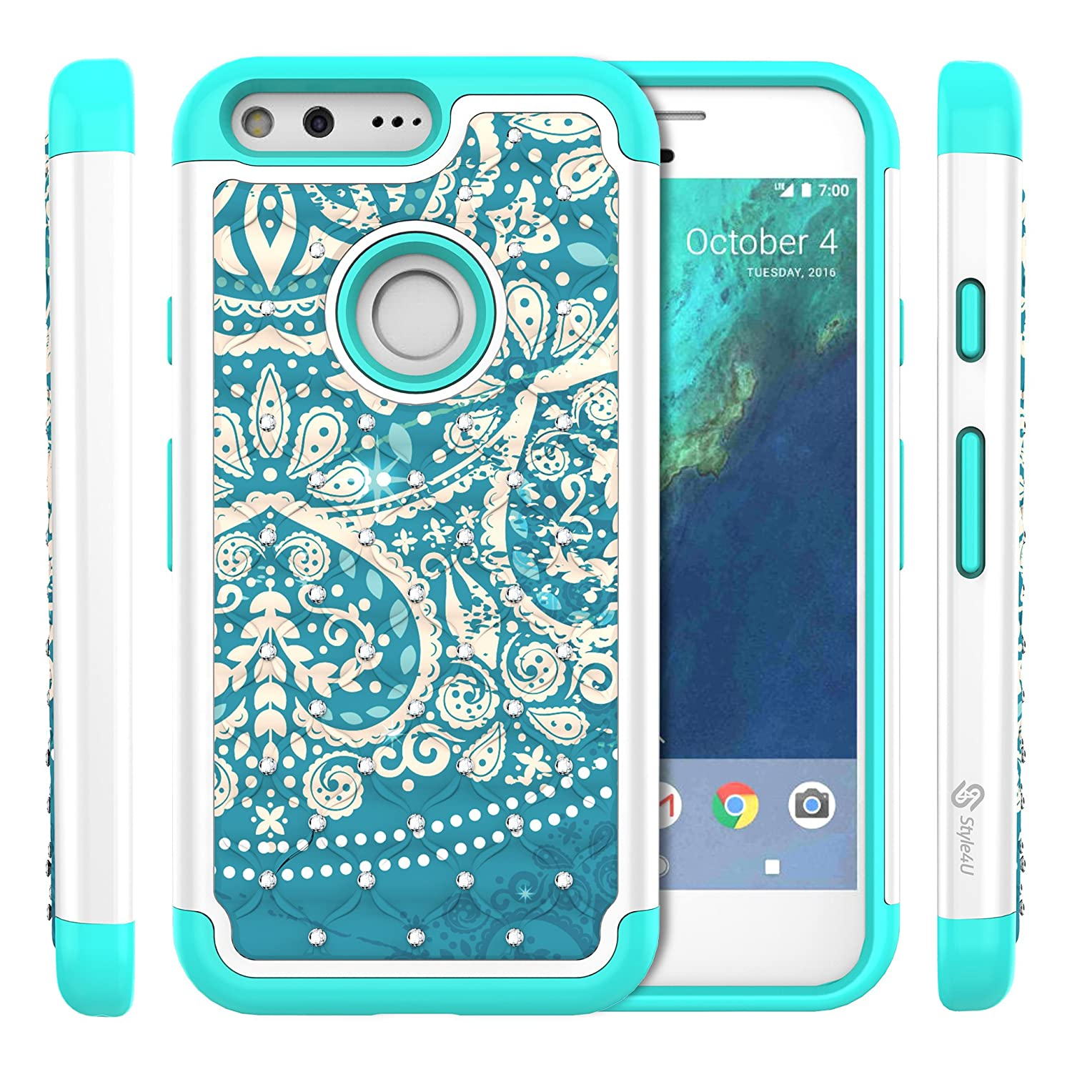 db24b34e30 ... Pixel XL Bling Case, Style4U Studded Rhinestone Crystal Bling Hybrid  Armor Case Cover for Google Pixel XL with 1 Style4U Stylus [Flower White /  Teal]