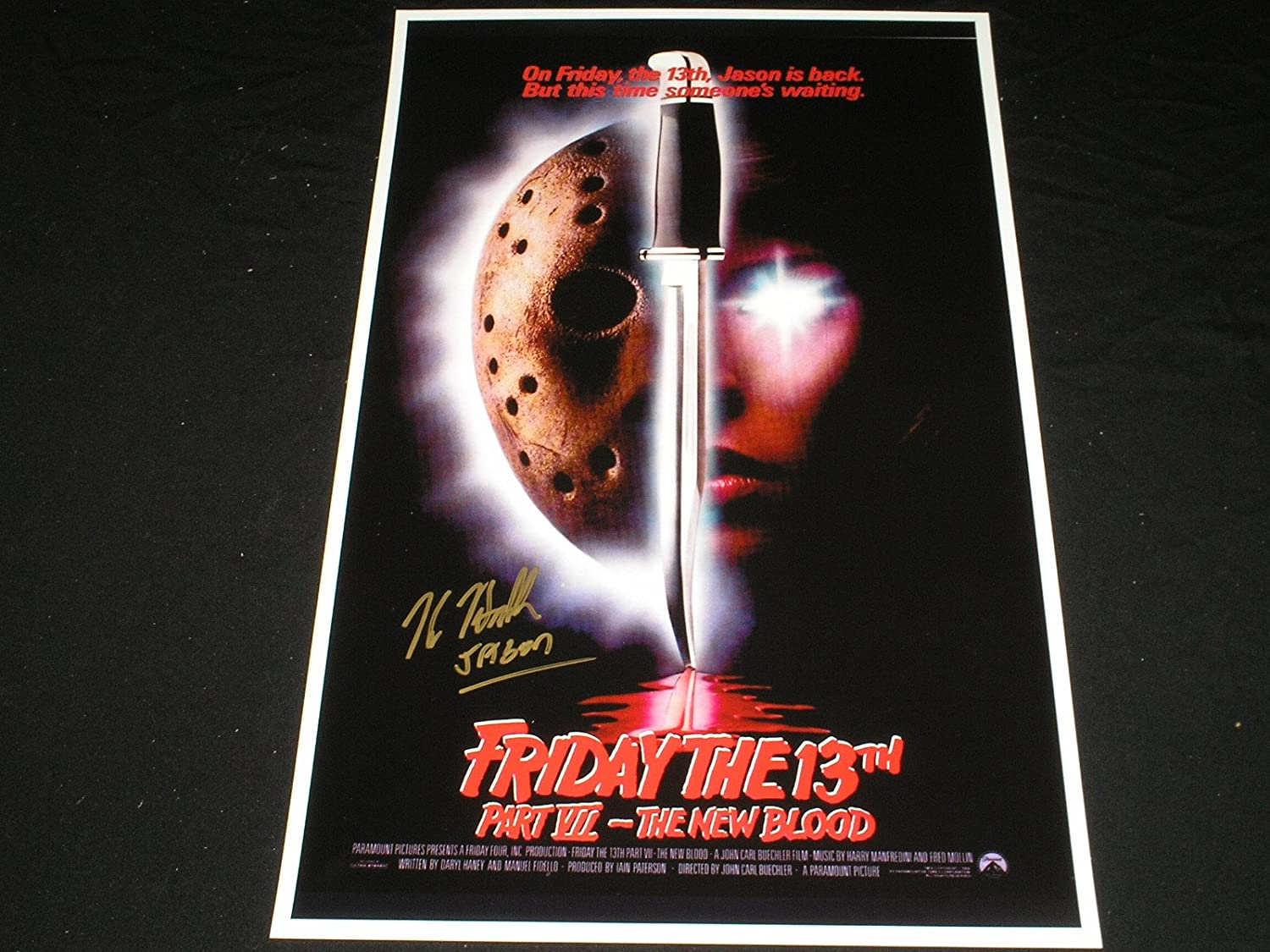 Kane Hodder Signed The New Blood 11x17 Poster Friday The 13th Part