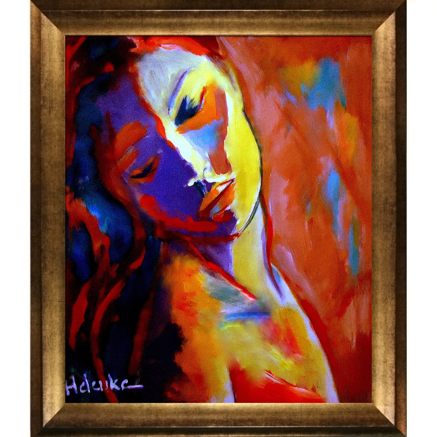 overstockArt Concealed Sorrows Framed Canvas Print of an Original Painting By Helena Wierzbicki