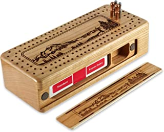 product image for Mountain Hiker Engraved Wooden Cribbage Board with Metal Pegs and Deck of Cards