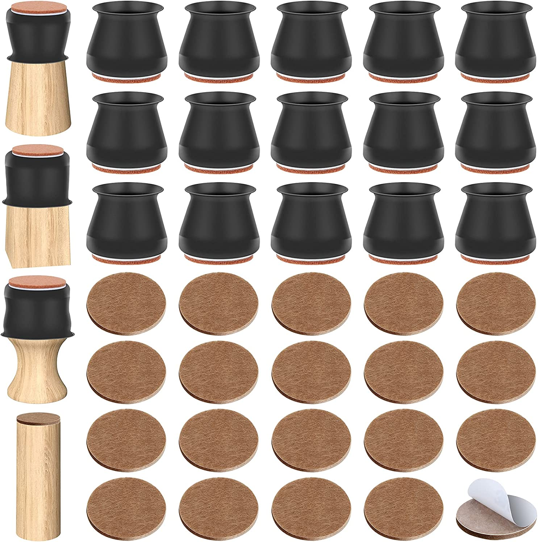 96 Pcs Chair Leg Floor Protectors Ocheyu Silicone Chair Leg Caps 48 Pcs Felt Furniture Pads 48 Pcs Furniture Cups Protectors Chair Pads with Strong Adhesive for Hardwood Wood Floor