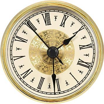 2,8 Pulgadas/ 70 mm Inserto de Reloj de Números Romanos con Borde Dorado, Movimiento de Cuarzo: Amazon.es: Hogar