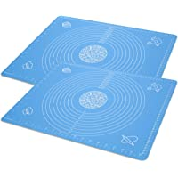 """Silicone Baking Mat for Rolling Pastry Dough with Measurements, 19.7"""" x 15.7"""" BPA Free Non stick and Non Slip Blue Table Sheet Baking Supplies for Bake Pizza Cake 2-PACK"""
