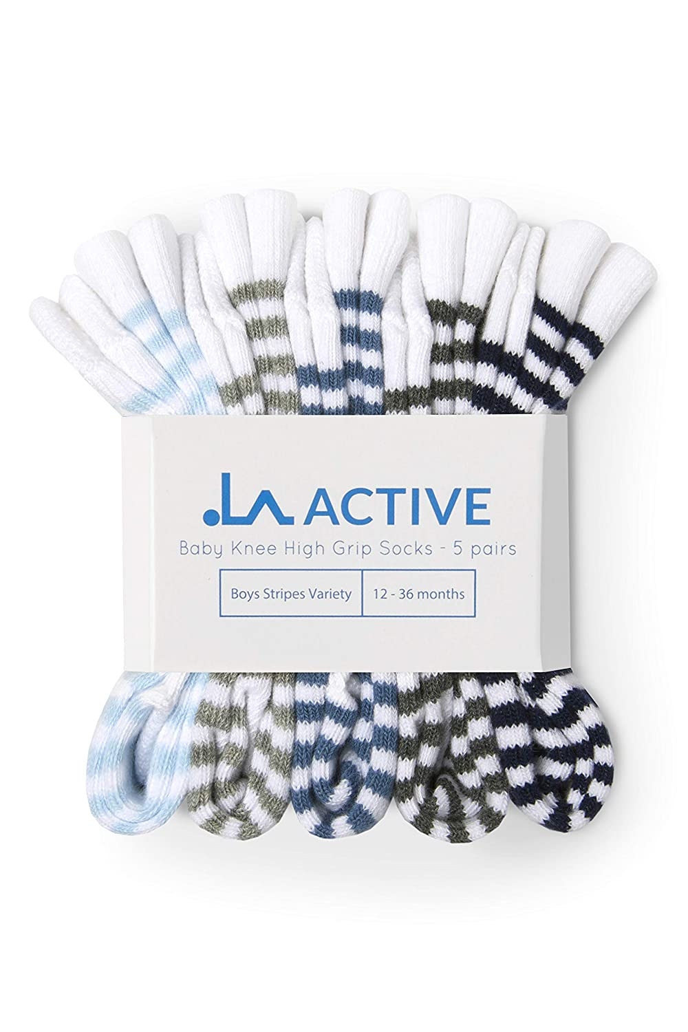 7a9174852 LA Active Knee High Grip Socks – 5 Pairs - Baby Toddler Non Slip Skid Cotton