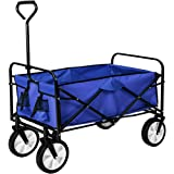 TecTake Foldable hand cart pull along wagon | up to 80 kg load | blue