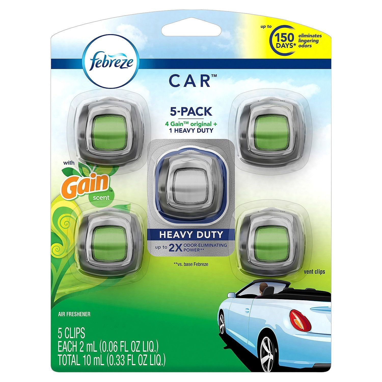 Febreze Car Air Freshener, Set of 5 Clips, 4 Gain Scent, 1 Heavy Duty 1147