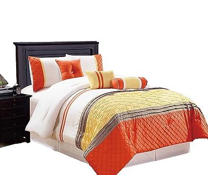 Amazon.com: Legacy Decor 7 pc Microfiber White, Orange and Yellow