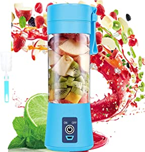 Portable Personal Blender For Shakes and Smoothies, Mini Blender Cup USB Rechargeable Small Blender Shakes Travel 380ml & Six 3D Blades For Great Mixing,bule