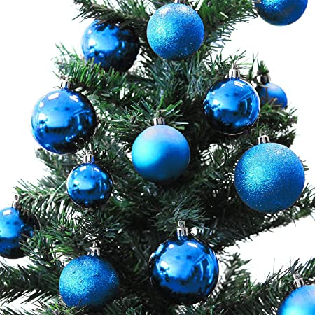 Superior 70s Variety Christmas Tree Baubles Decoration Pack With Travel U0026 Storage  Case Blue 4/5