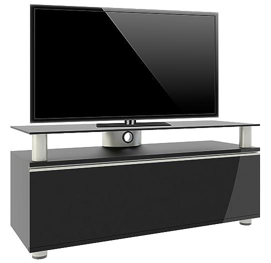 vcm 14245 clano meuble tv avec porte pliante roulettes incluses mdfaluminiumverre - Meuble Tv A Roulettes Noir