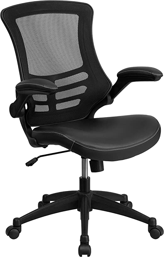 Amazon Com Flash Furniture Desk Chair With Wheels Swivel Chair With Mid Back Black Mesh And Leathersoft Seat For Home Office And Desk Furniture Decor
