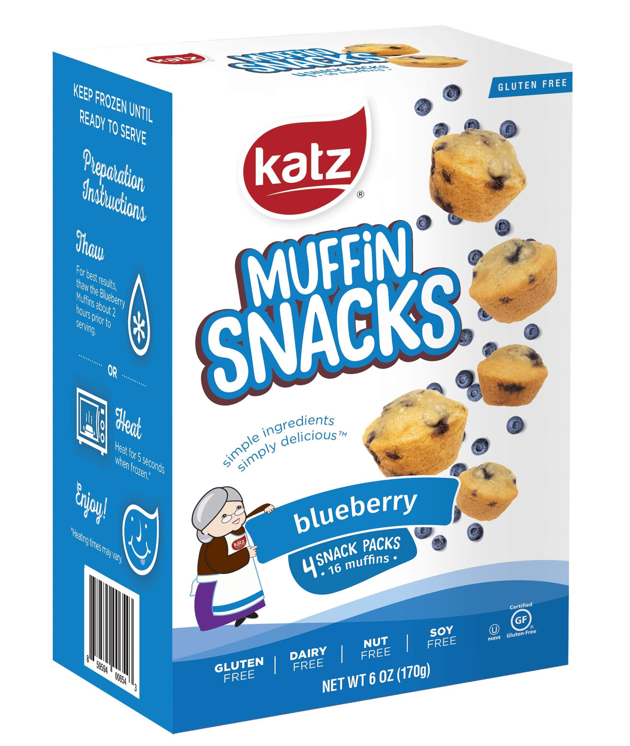 Katz Gluten Free Blueberry Muffin Snacks   Dairy, Nut, Soy and Gluten Free   Kosher (6 Packs, 6 Ounce Each) by Katz Gluten Free