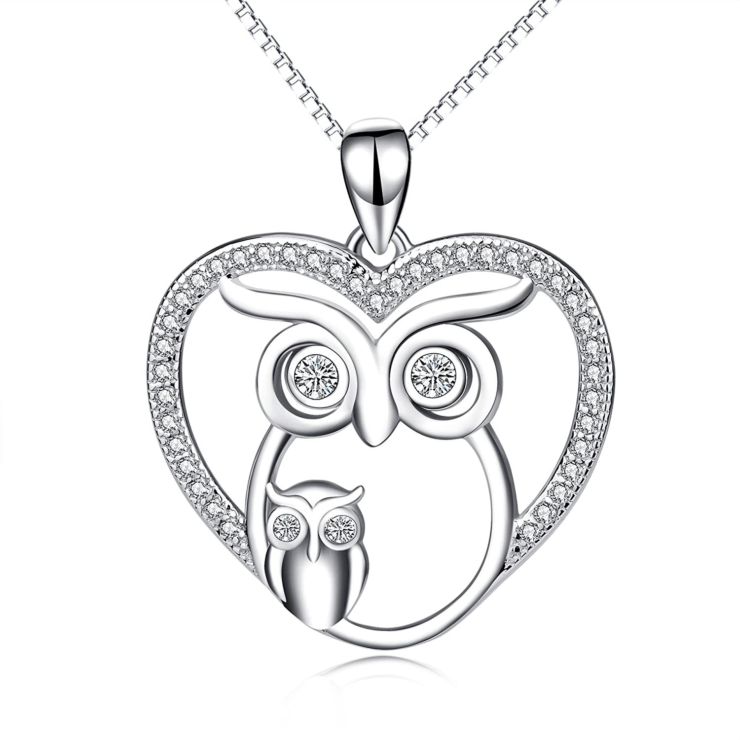 Mom Baby Owl 925 Sterling Silver Crystal Owl Lover Bird Pendant Necklace 18 BlYfgz3UYz