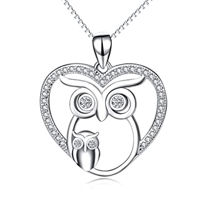 Amazon owl jewelry 925 sterling silver mother child love heart owl jewelry 925 sterling silver mother child love heart owl pendant necklace owl necklace aloadofball Image collections