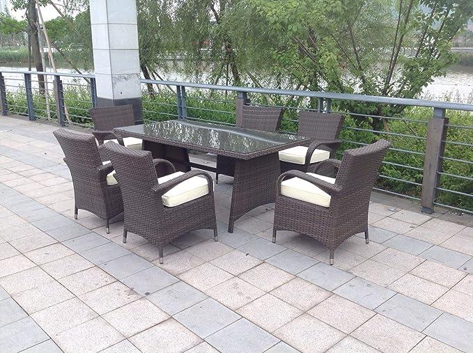 Ratán Aluminio al Aire Libre muebles de jardín en invernadero. 6 asiento Rectangular juego de mesa y sillas de comedor en marrón: Amazon.es: Jardín
