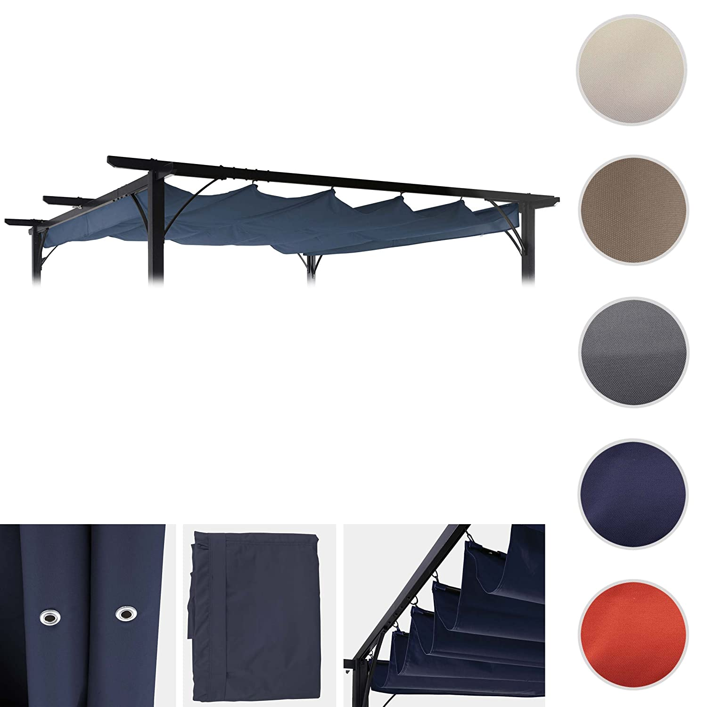 Mendler Ersatzdach für Pergola 3,5x3,5m HWC-C42, Schiebedach Bezug Sonnenschutz ~ blau