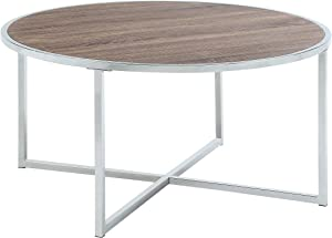 Abington Lane - Contemporary Circular Coffee Table - Fashionable Chrome Cocktail, Sofa, Office Table for Living Room and Office - (Brown)