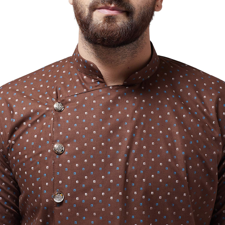Bollywood-Indian-Kurta-Pajama-Dress-Tunic-Printed-Top-Men-Kurta-Ethnic-Wear thumbnail 14