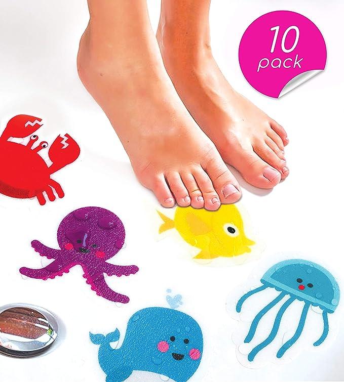 Cr/éature marine.10 pack. Autocollants de bain antid/érapants CURIOUS COLUMBUS