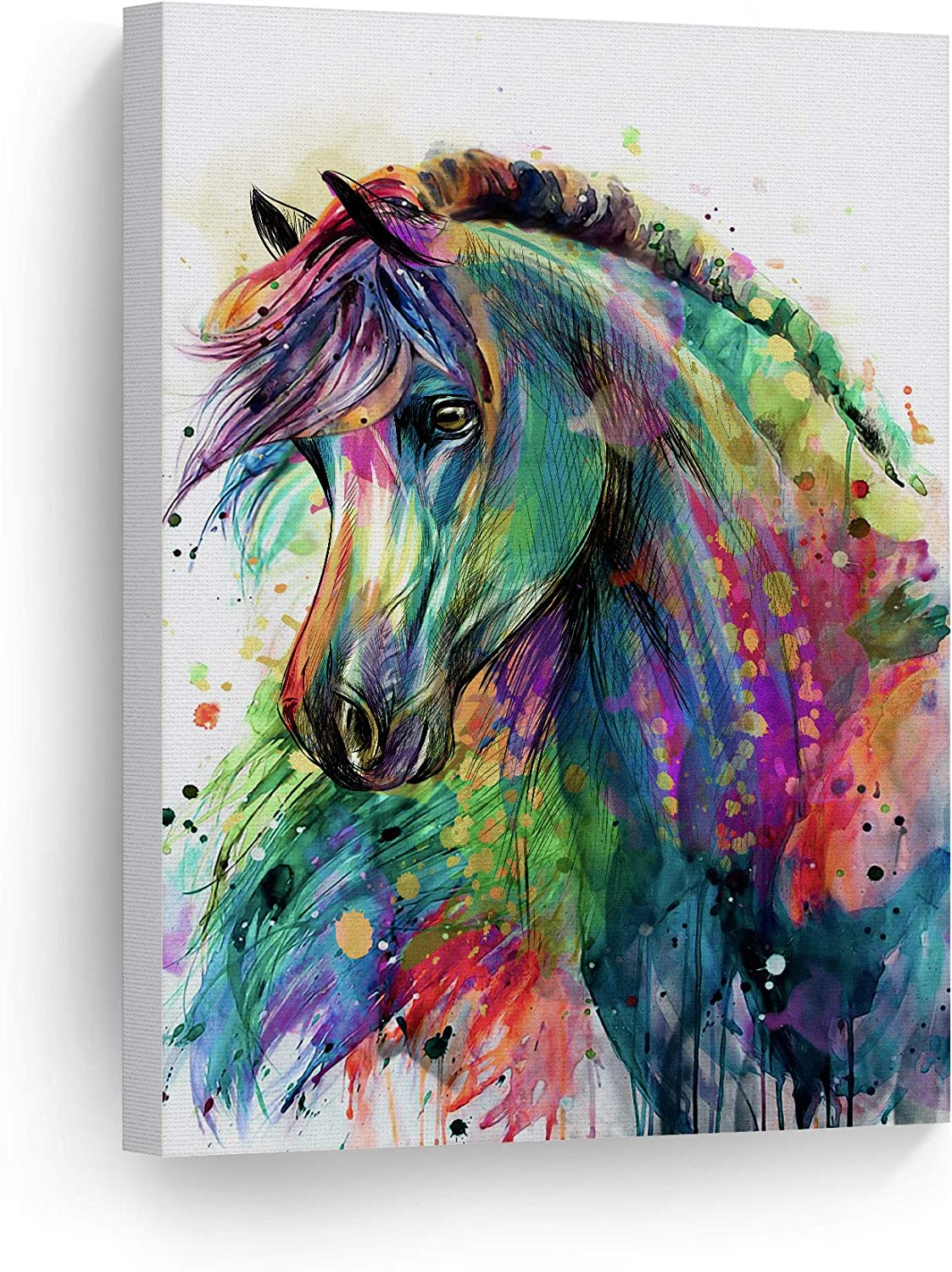 Amazon Com Smile Art Design Horse Watercolor Painting Colorful Rainbow Portrait Canvas Print Decorative Art Wall Décor Artwork Wrapped Wood Stretcher Bars Ready To Hang 100 Handmade In The Usa 12x8