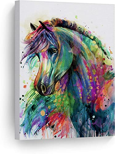 Smile Art Design Horse Watercolor Painting Colorful Rainbow Portrait Canvas Print Decorative Art Wall D cor Artwork Wrapped Wood Stretcher Bar