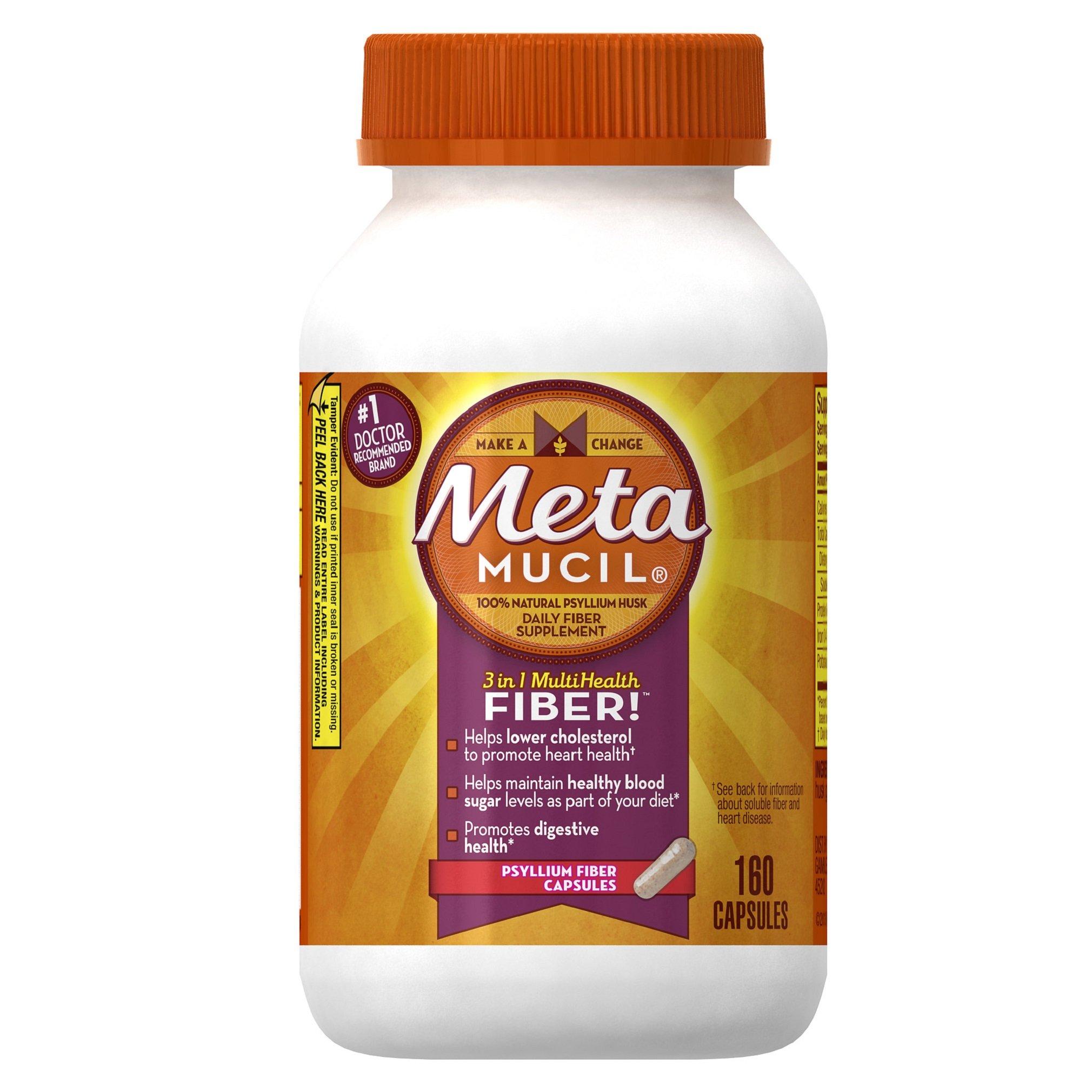 Metamucil Daily Fiber Supplement, Psyllium Husk Capsules, 160 Capsules (Pack of 2)