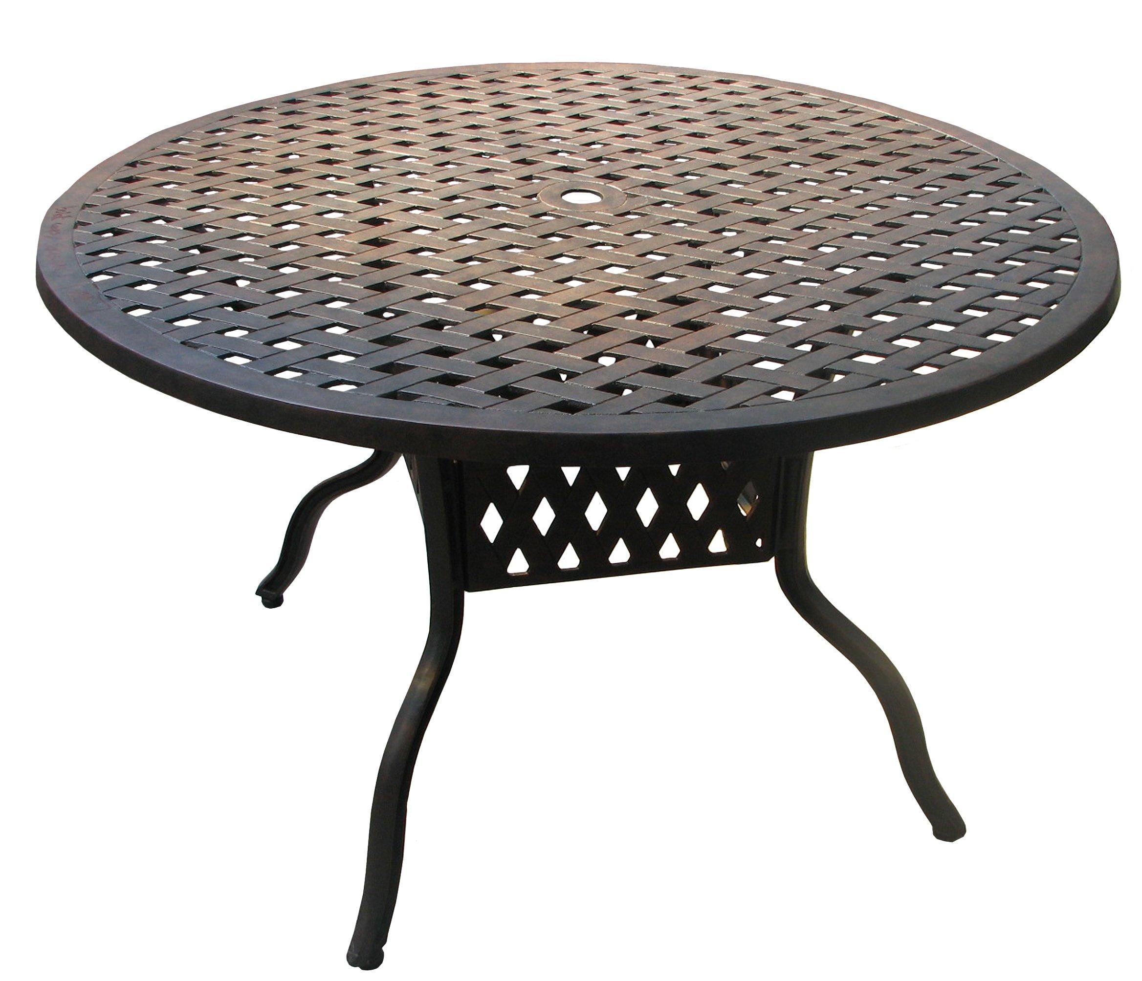 ATC Design Antique Bronze Solid Cast Aluminum Table, 48'' D x 28'' H