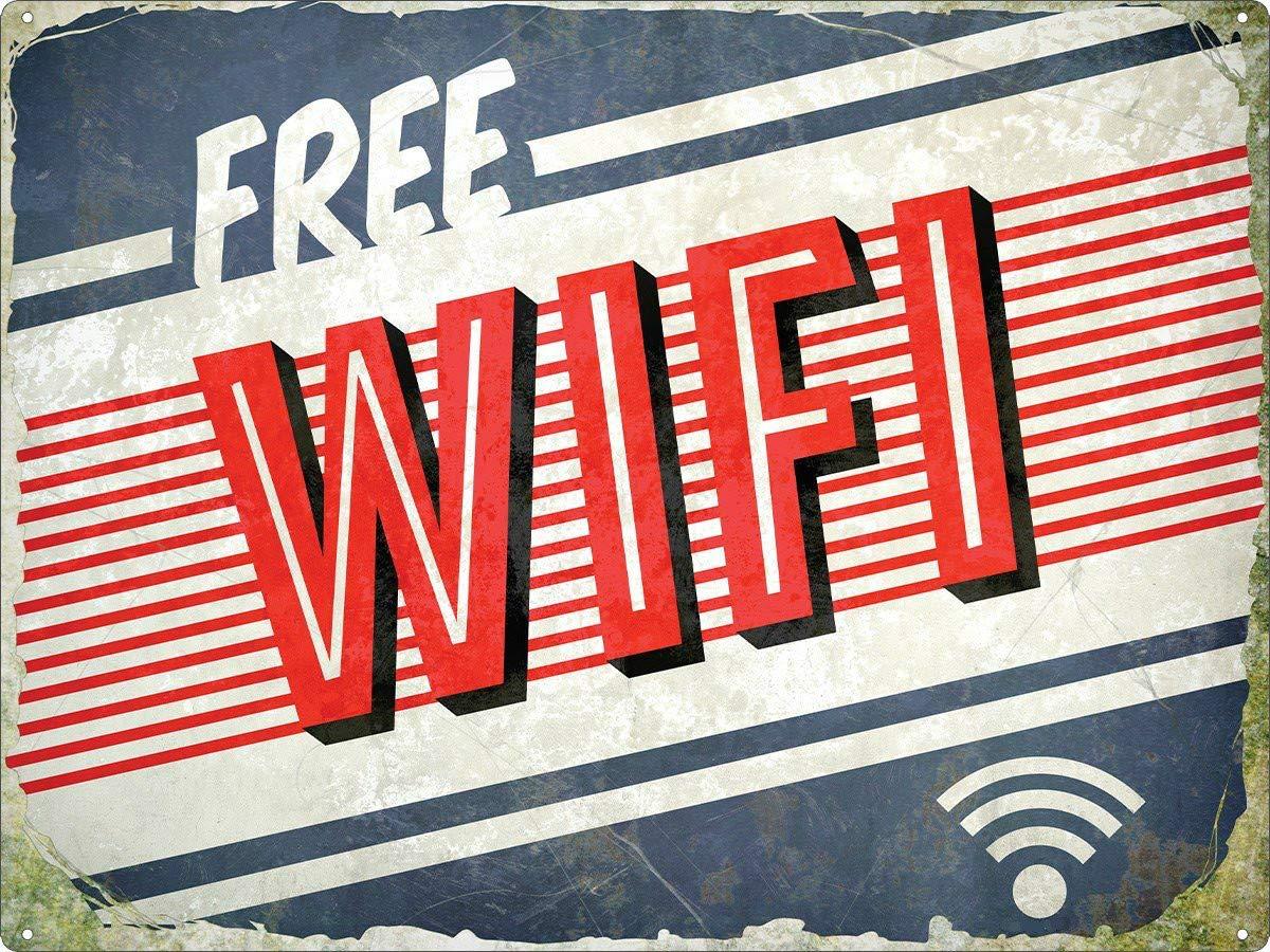 Mr.sign Free WiFi Targa in Metallo Targhe Cartello Retro Decorazione della Parete per Negozio Garage Casa Giardino Bar Caffetteria Ristorante Hotel