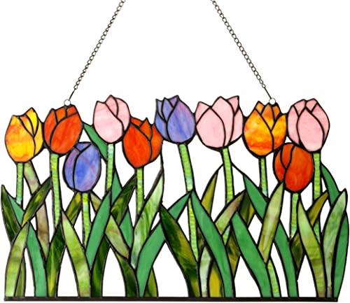 Chloe Lighting 18 Wide TULIPA Tiffany-Glass Tulips Window Panel