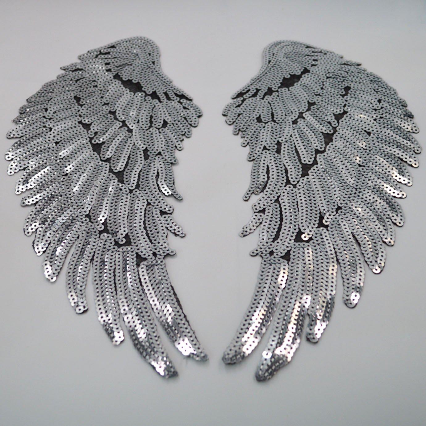 plateado decoraci/ón dorado talla /única Parche para planchar de alas bordadas con lentejuelas para ropa 1 par