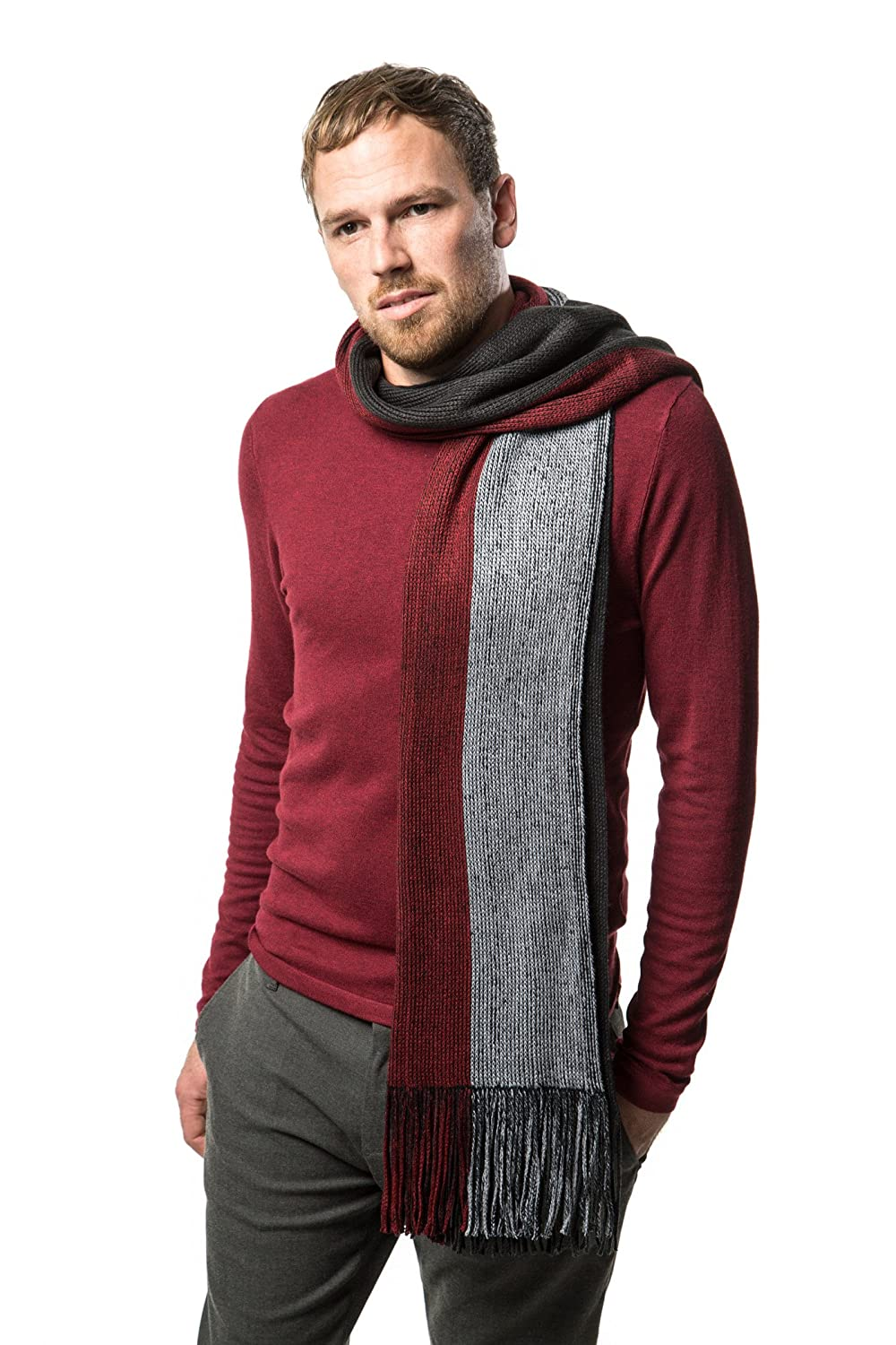 Mens Scarf, Knit Striped Long Scarf, Winter Fashion Scarf In An Elegant Gift Box MKS095-1-MUG_FIX1