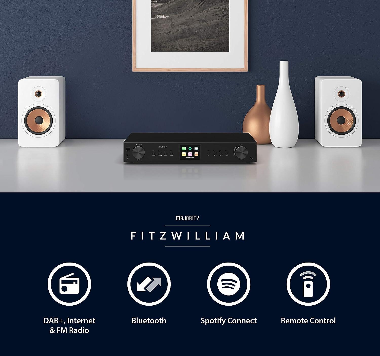 Majority Fitzwilliam Hi-Fi Separa el sintonizador - Digital Dab/Dab+/FM y Radio por Internet - Spotify Connect - Bluetooth - Control Remoto - USB y ...