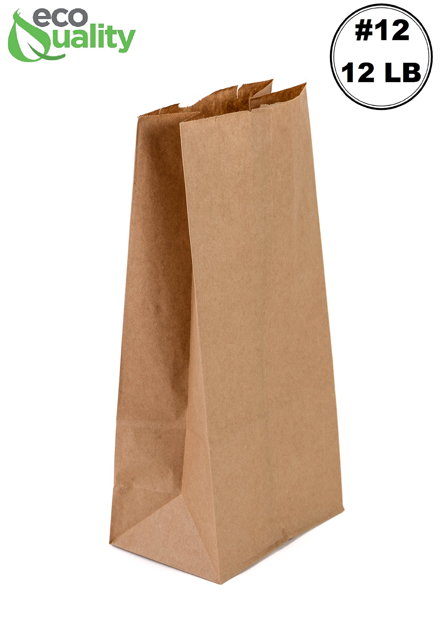 EcoQuality 500 Brown Kraft Paper Bag (12 lb) Medium - Paper Lunch Bags, Small Snacks, Gift Bags, Grocery, Merchandise, Party Bags (7-1/16 x 4-1/2 x 13-3/4'') (12 Pound Capacity)